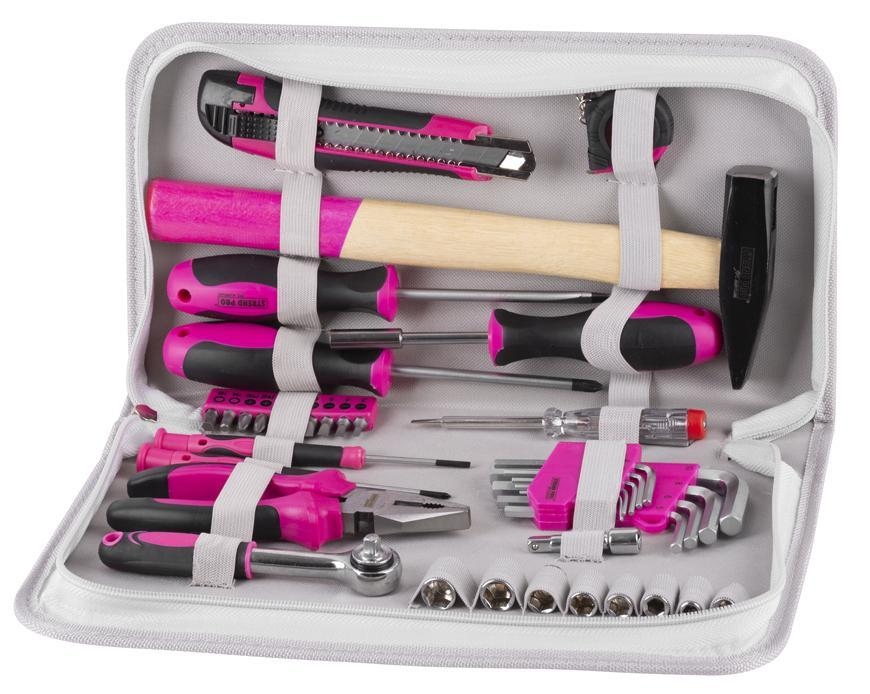Sada náradia pre ženy LADIES PINK SET11, 39 dielna, ružová, v brašni